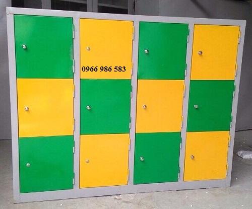 Tủ mầm non 12 ô xanh, vàng