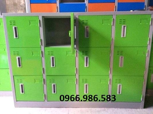 kệ siêu thị, Tủ sắt mầm non 12 ngăn, màu xanh