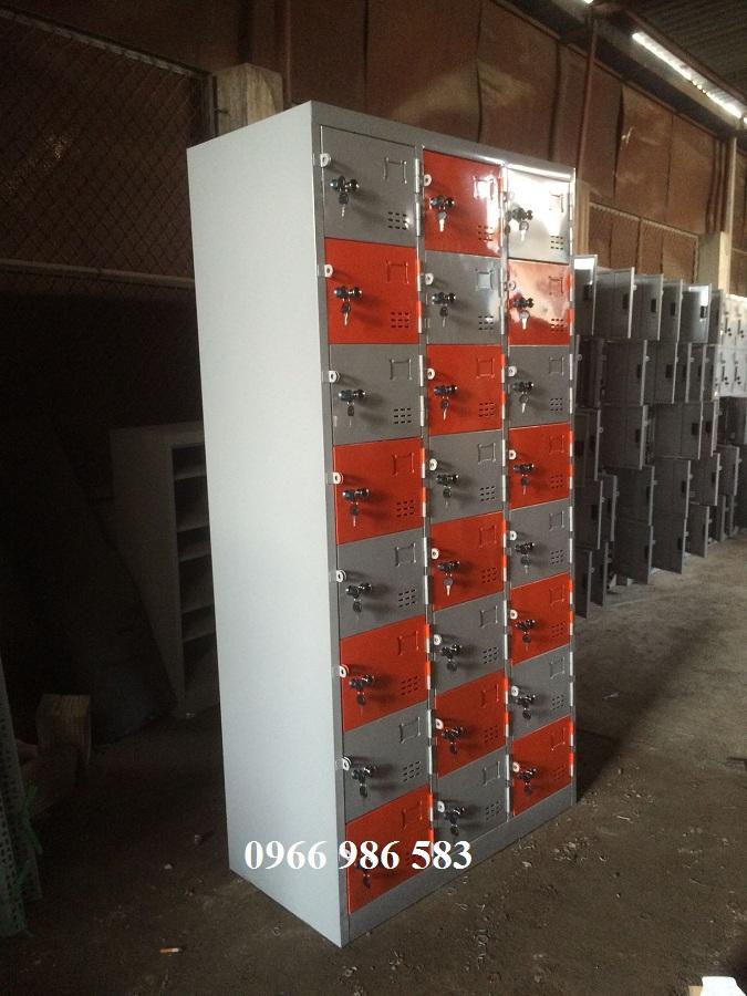 Tủ locker 24 ngăn màu cam