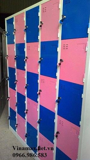 Tủ sắt mầm non 25 ngăn màu hồng xanh
