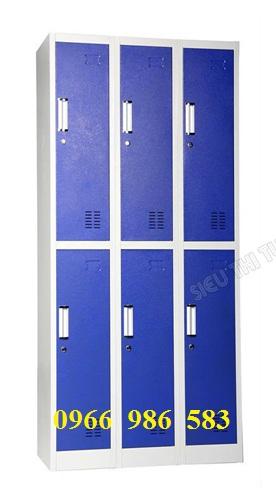 tủ locker màu xanh 6 ngăn